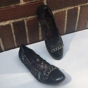 AGL Captoe Chain Leather Ballerina Flats Size 37.5
